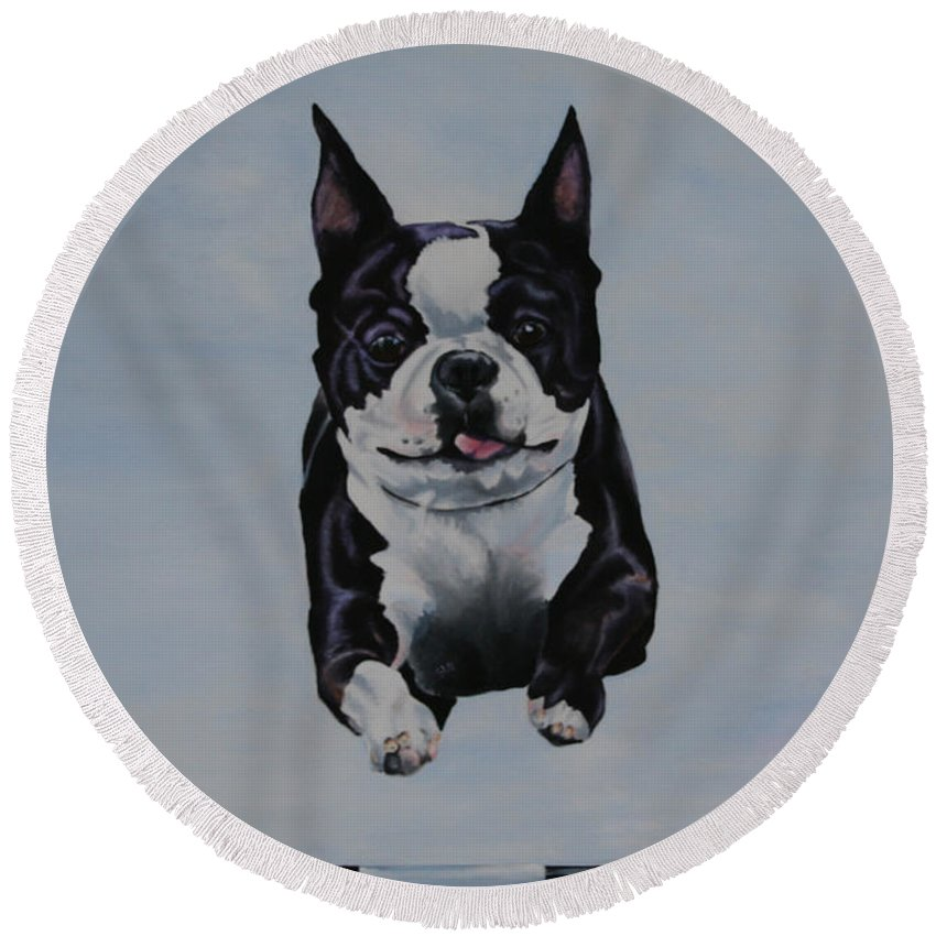 Animal Round Beach Towel featuring the painting Limitless by Susan Herber