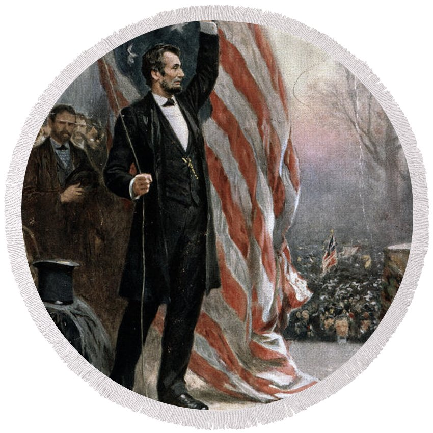 1861 Round Beach Towel featuring the painting Lincoln Independence Hall by Granger