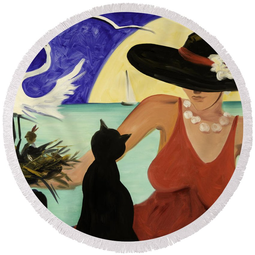 Colorful Art Round Beach Towel featuring the painting Living The Dream by Gina De Gorna