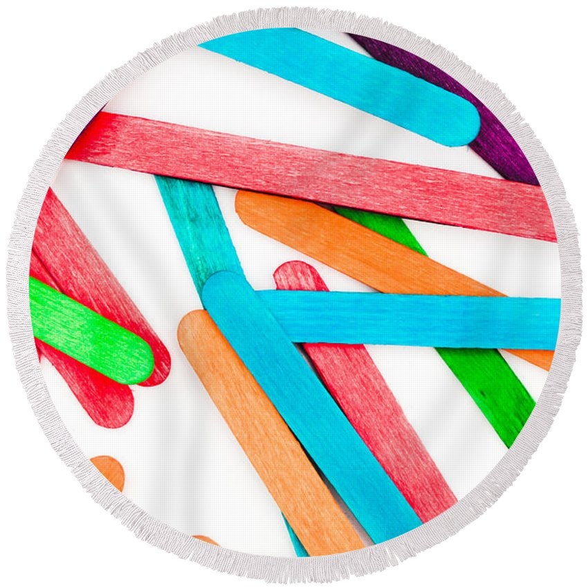 Abstract Round Beach Towel featuring the photograph Lollipop Sticks by Tom Gowanlock