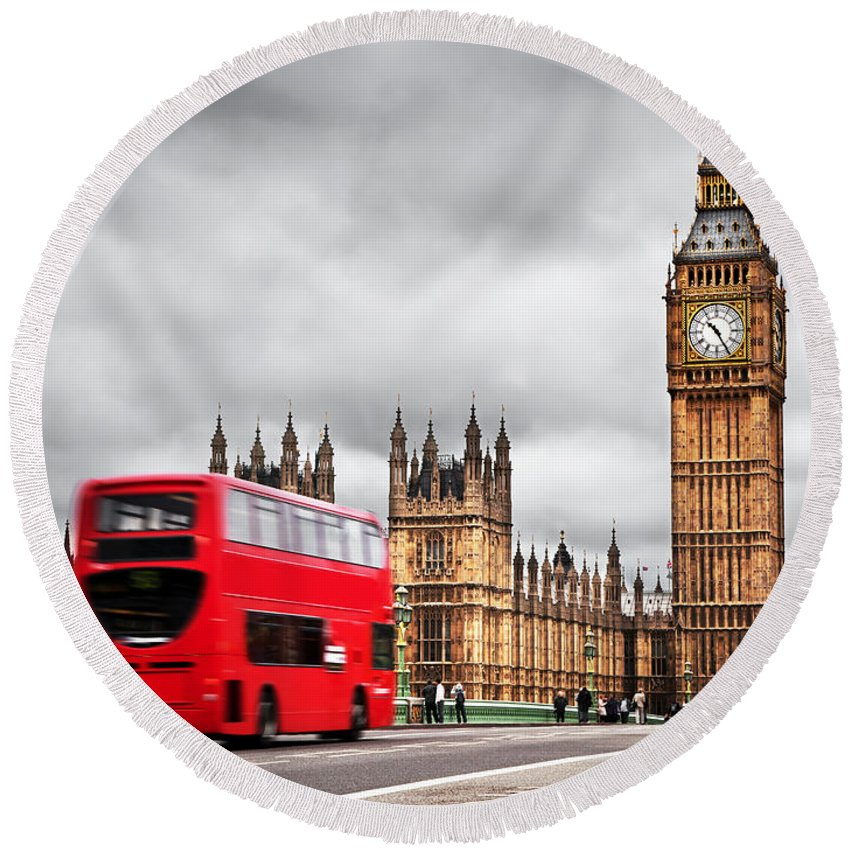 London Round Beach Towel featuring the photograph London The Uk Red Bus In Motion And Big Ben by Michal Bednarek