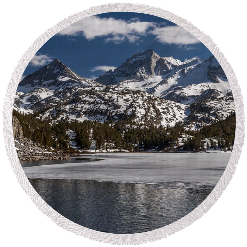 Lake Round Beach Towel featuring the photograph Long Lake by Cat Connor