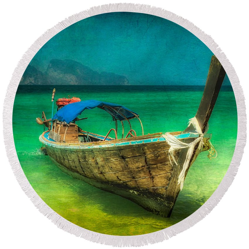 Asia Round Beach Towel featuring the photograph Longboat Thailand by Adrian Evans