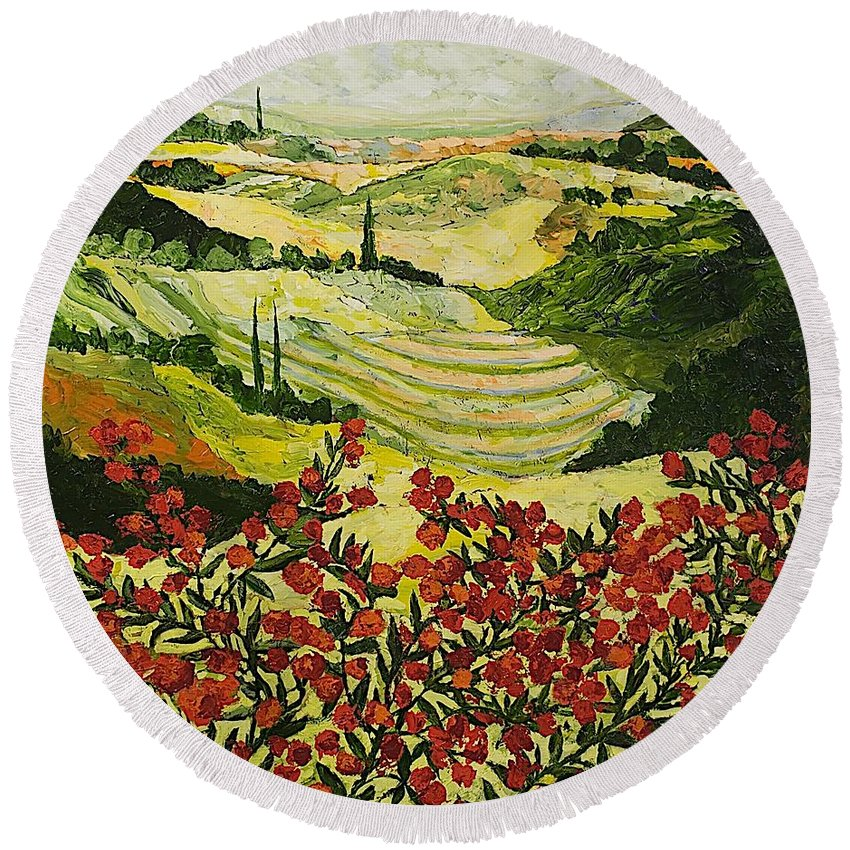 Landscape Round Beach Towel featuring the painting Look And Behold by Allan P Friedlander
