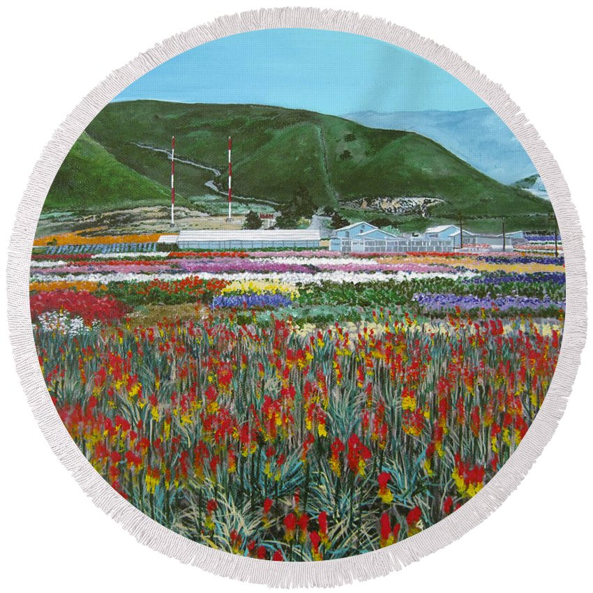 Flowers Round Beach Towel featuring the painting Lookout Point by Angie Hamlin