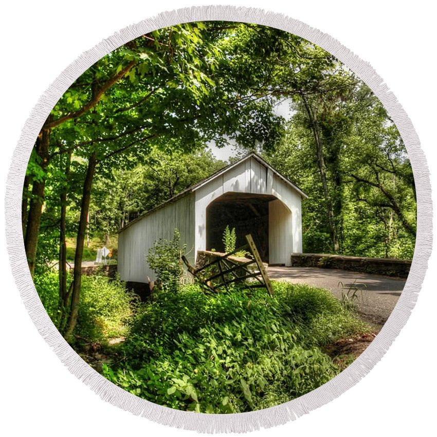 Loux Round Beach Towel featuring the photograph Loux Covered Bridge by Traci Law