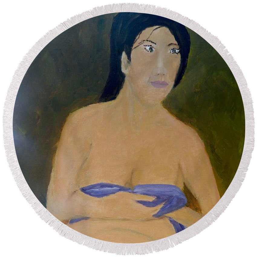 Portrait Round Beach Towel featuring the painting Lovely Lady by Pamela Meredith