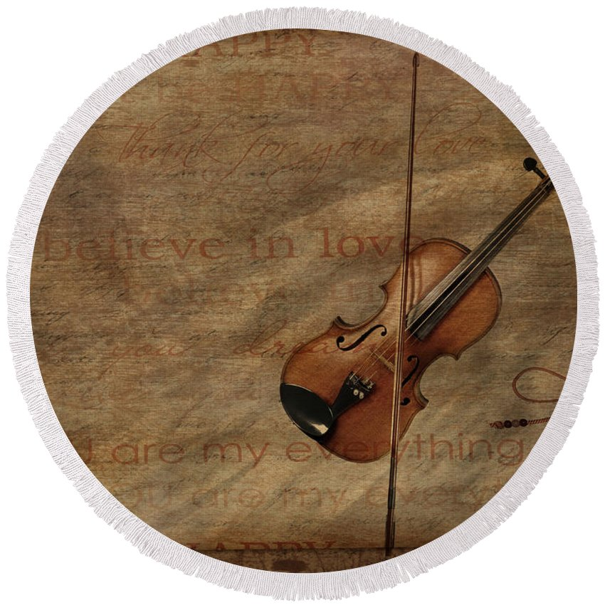 Violin Round Beach Towel featuring the mixed media Lovesong by Heike Hultsch