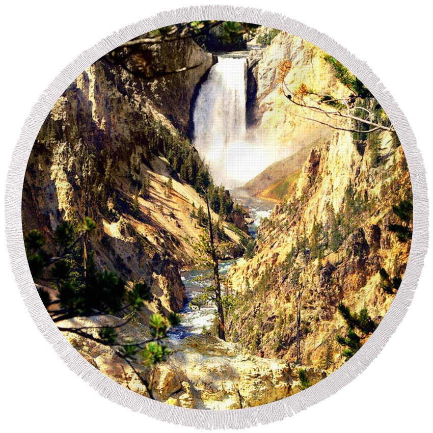 Yellowstone National Park Round Beach Towel featuring the photograph Lower Falls 2 by Marty Koch