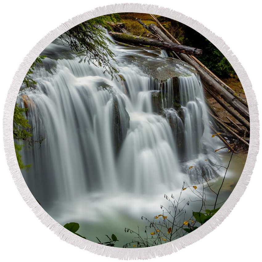 Lower Lewis Falls Round Beach Towel featuring the photograph Lower Lewis Falls 2 by Mike Penney