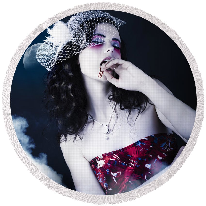 Adult Round Beach Towel featuring the photograph Makeup Beauty With Gothic Hair And Bloody Mouth by Jorgo Photography - Wall Art Gallery