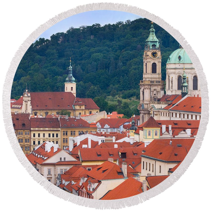 Mala Round Beach Towel featuring the photograph Mala Strana In Prague by Michal Bednarek