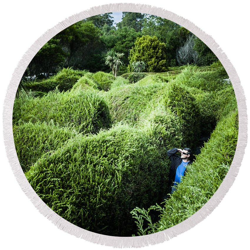Landscape Round Beach Towel featuring the photograph Man Lost Inside A Maze Or Labyrinth by Jorgo Photography - Wall Art Gallery