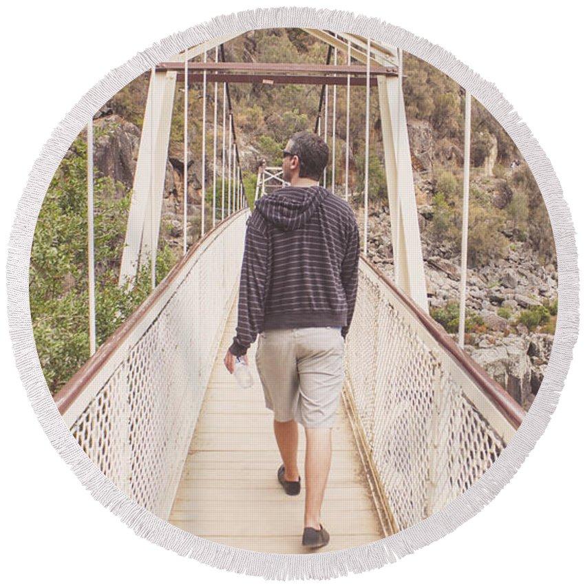 Bridge Round Beach Towel featuring the photograph Man On Alexandra Suspension Bridge In Tasmania by Jorgo Photography - Wall Art Gallery