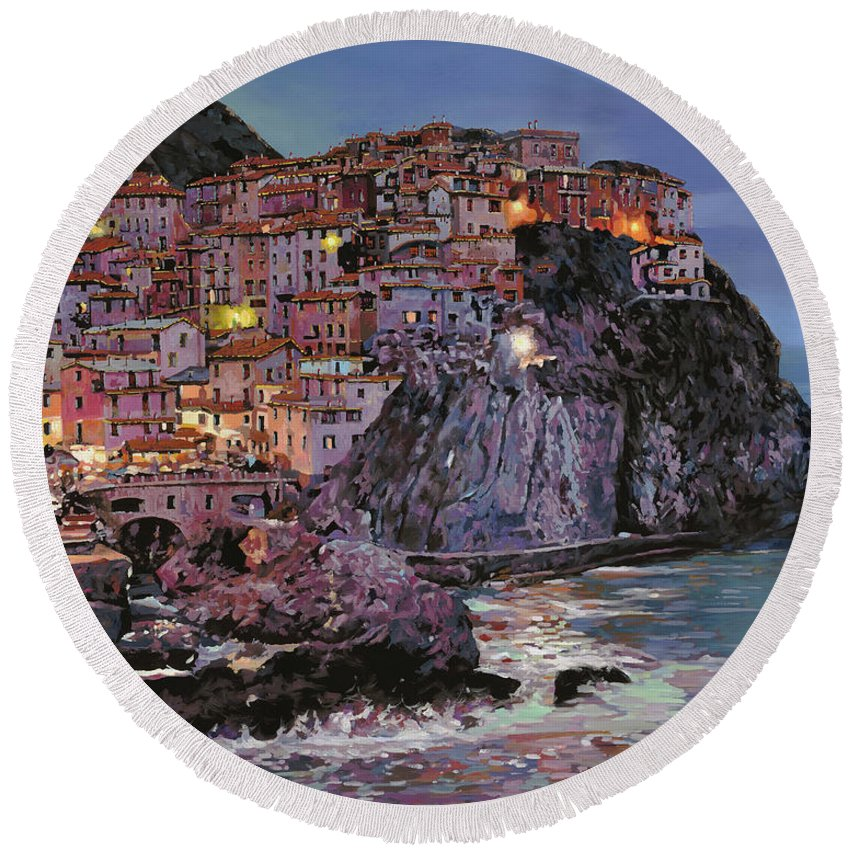 Manarola Round Beach Towel featuring the painting Manarola al crepuscolo by Guido Borelli