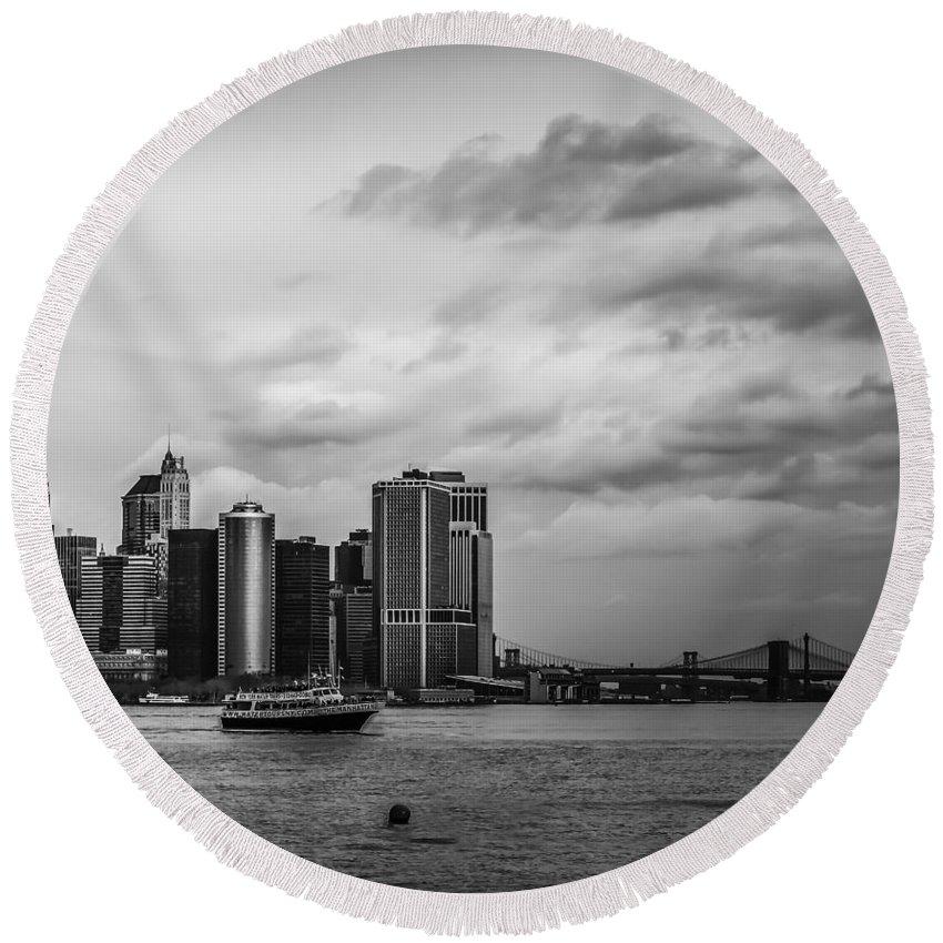 Manhattan Round Beach Towel featuring the photograph Manhattan Skyline Right Triptych by David Morefield