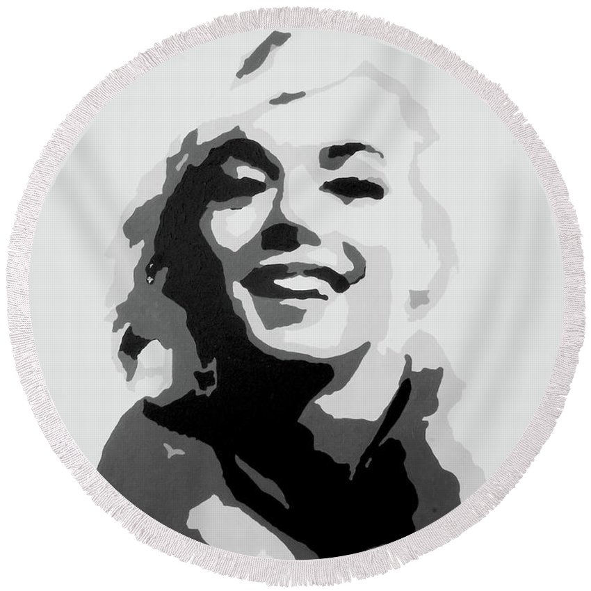 Marilyn Monroe Round Beach Towel featuring the painting Marilyn Monroe by Katharina Filus