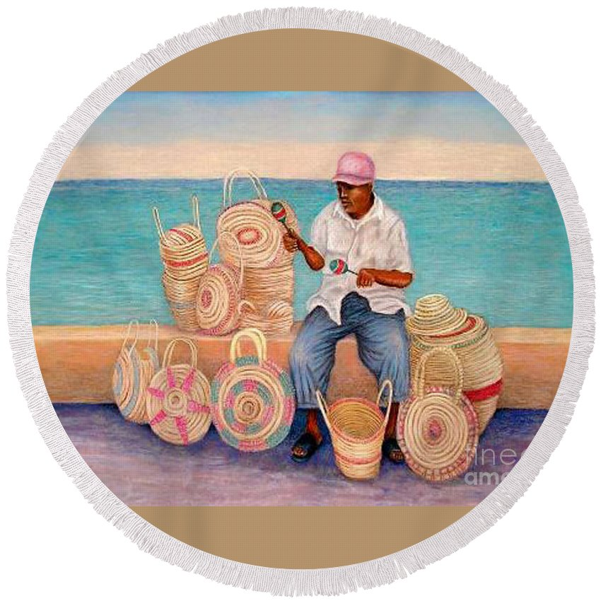 Martin In Cozomel Mexico Round Beach Towel featuring the pastel Martin by Barney Napolske