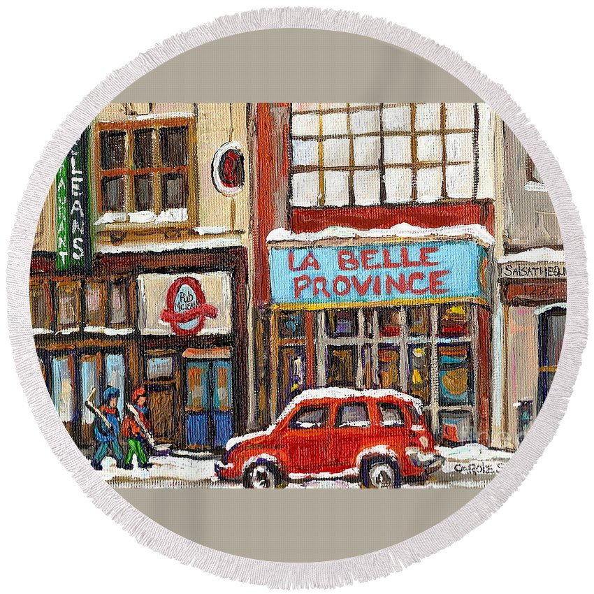 Montreal Round Beach Towel featuring the painting Mcleans Irish Pub Montreal by Carole Spandau