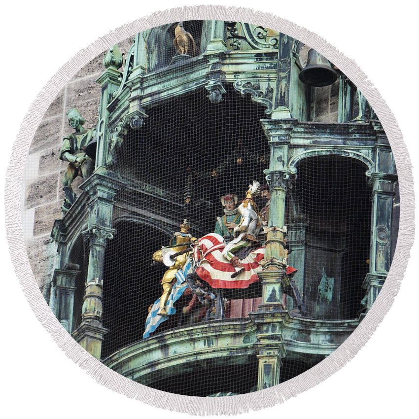 Glockenspiel Round Beach Towel featuring the photograph Mechanical Clock In Munich Germany by Howard Stapleton