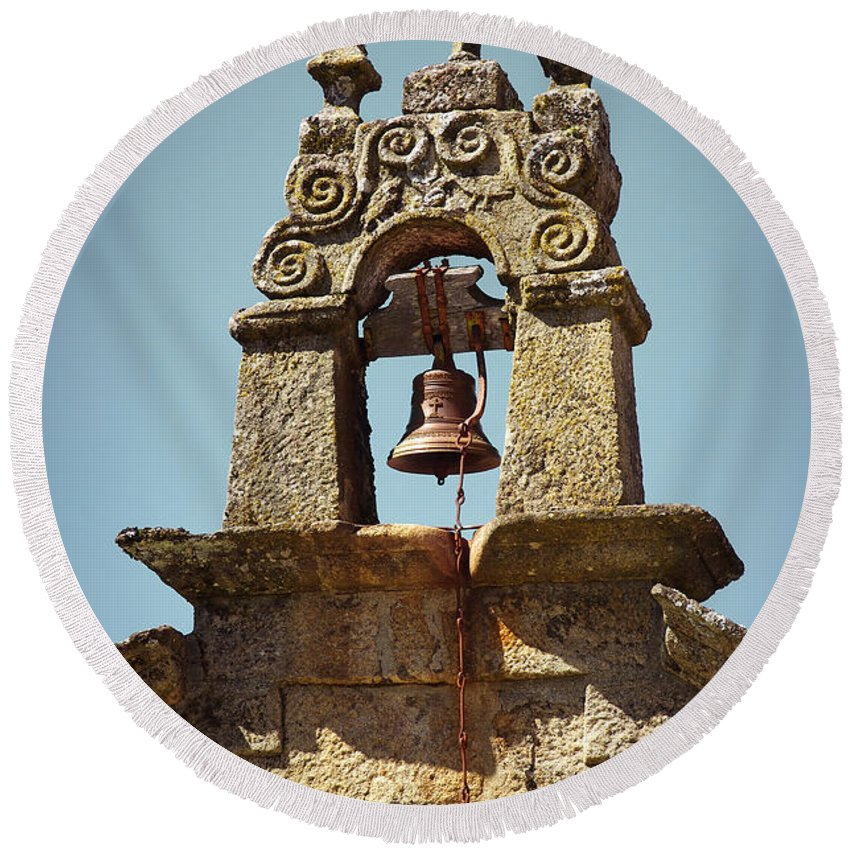 Ancient Round Beach Towel featuring the photograph Medieval Campanile by Carlos Caetano