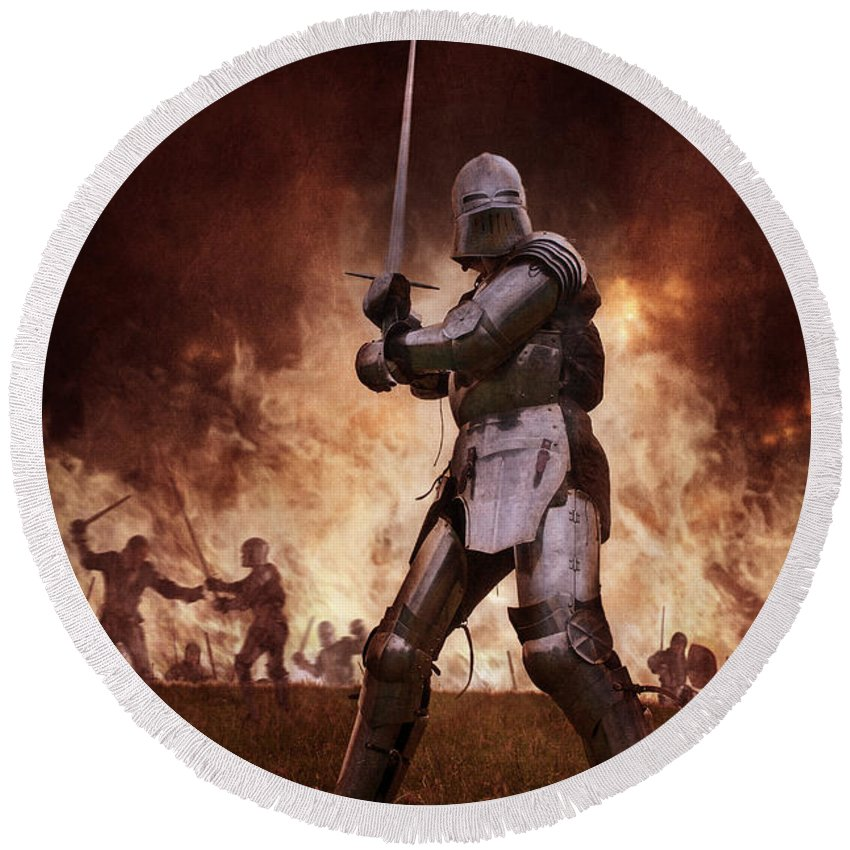 Knight Round Beach Towel featuring the photograph Medieval Knights In Battle by Lee Avison