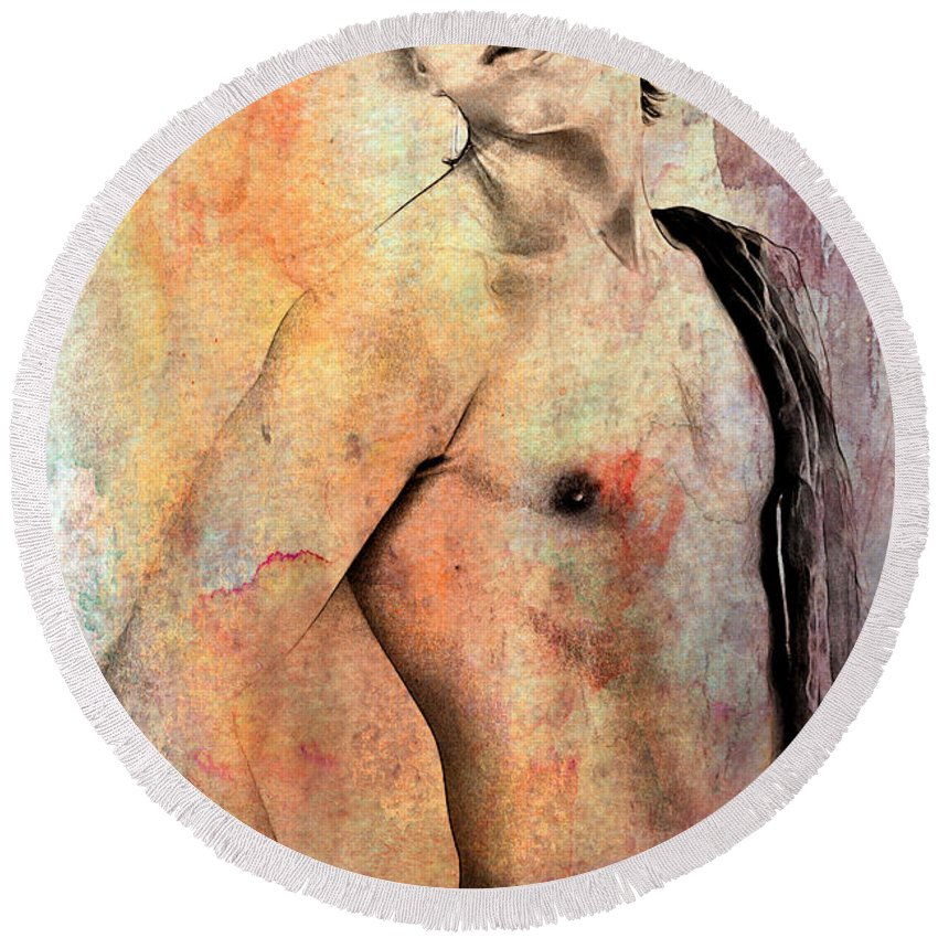 Watercolor Paintings Round Beach Towel featuring the digital art Mellow by Mark Ashkenazi