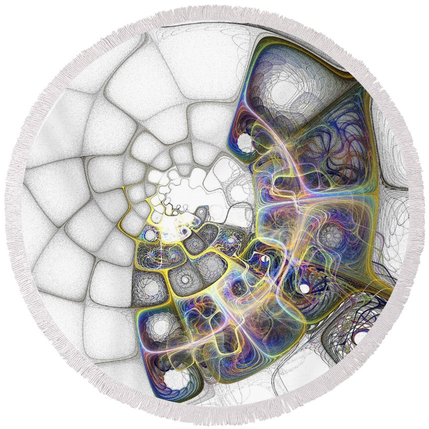 Digital Art Round Beach Towel featuring the digital art Memories by Amanda Moore
