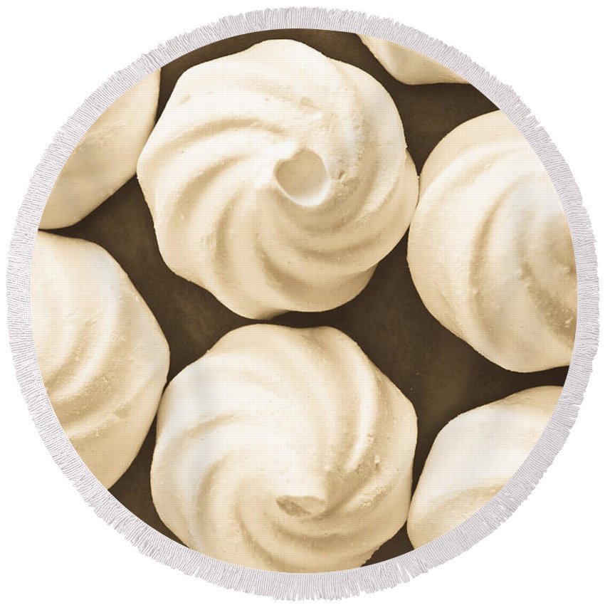 Airy Round Beach Towel featuring the photograph Meringue Nests by Tom Gowanlock