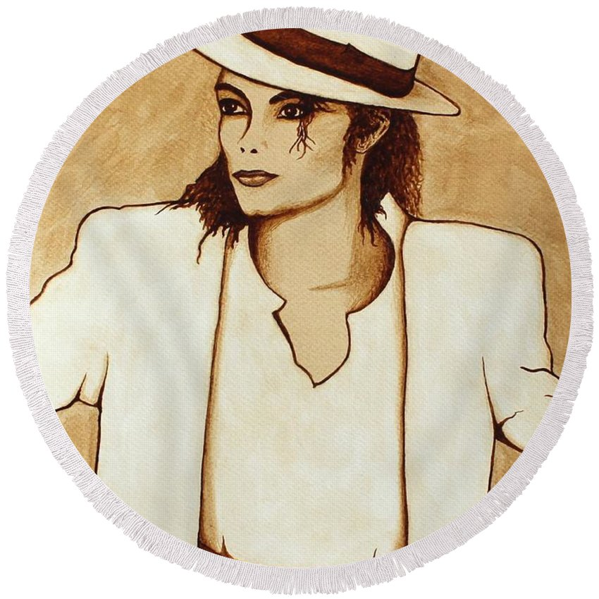 Michael Jackson Singer Coffee Painting Round Beach Towel featuring the painting Michael Jackson Original Coffee Painting by Georgeta Blanaru