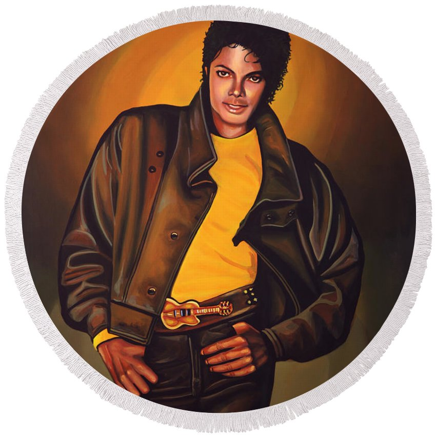 Michael Jackson Round Beach Towel featuring the painting Michael Jackson by Paul Meijering