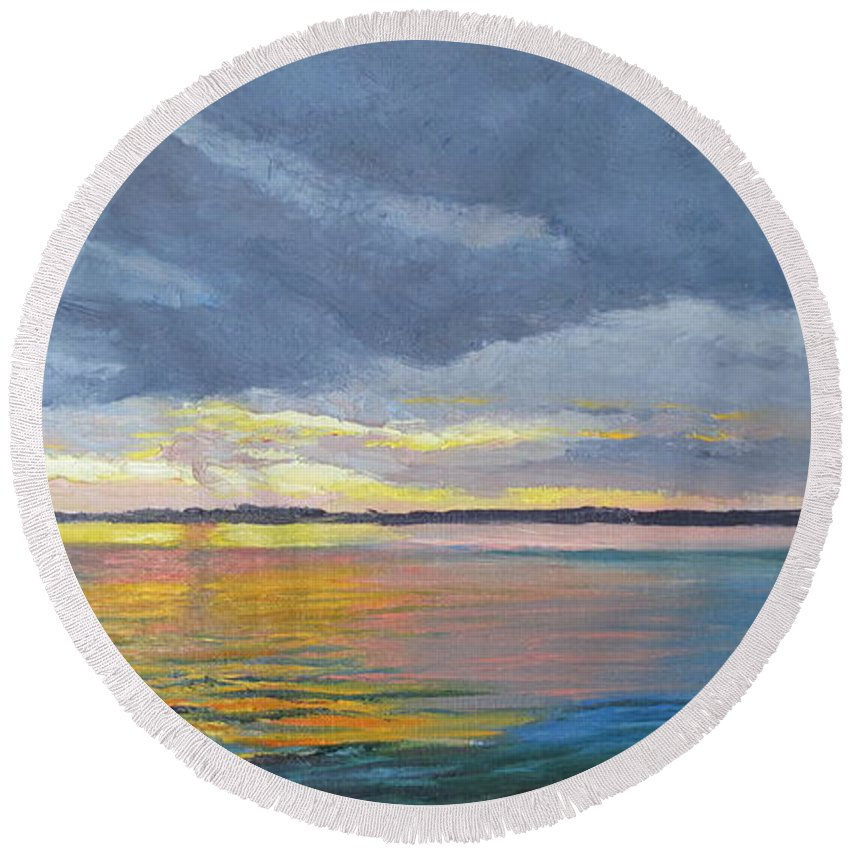 Seascape Round Beach Towel featuring the painting Mike's Sunset II by Lea Novak