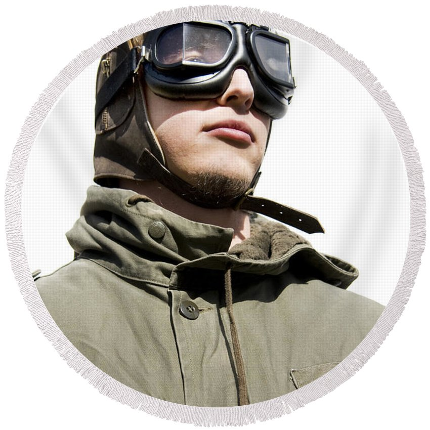 Airforce Round Beach Towel featuring the photograph Military Man by Jorgo Photography - Wall Art Gallery