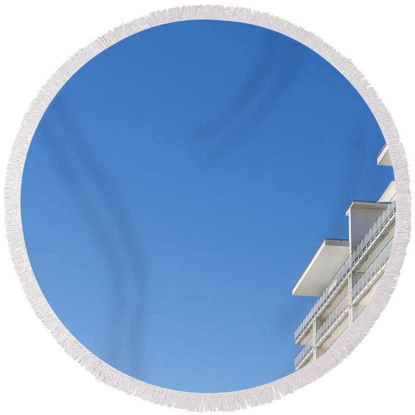 Building Round Beach Towel featuring the photograph Modern Building by Mats Silvan