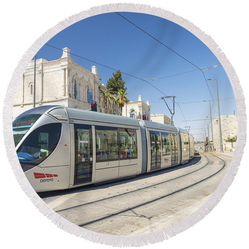 Ancient Round Beach Towel featuring the photograph Modern Tram In Central Jerusalem Israel by Jacek Malipan