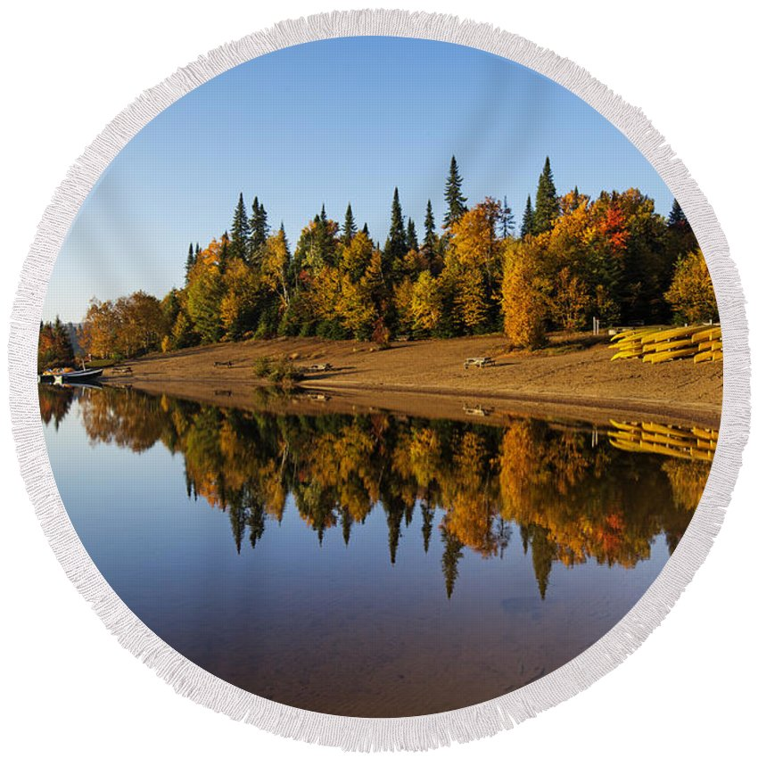 Laurentian Round Beach Towel featuring the photograph Mont-tremblant National Park by Mircea Costina Photography