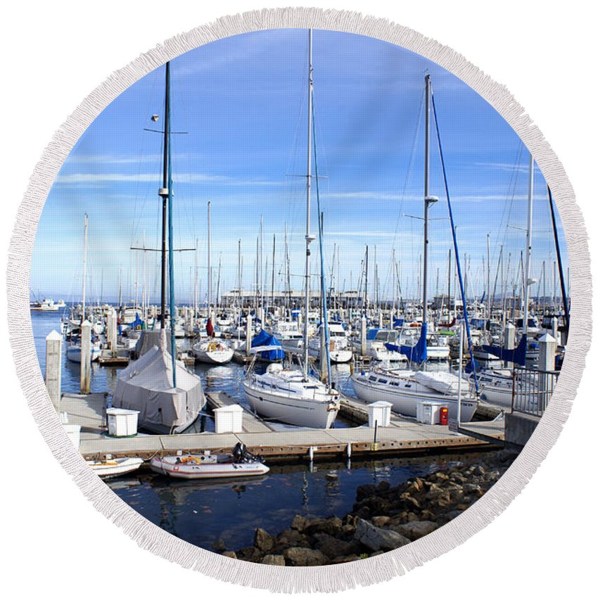 Monterey Harbor California Round Beach Towel featuring the photograph Monterey Harbor California by Barbara Snyder
