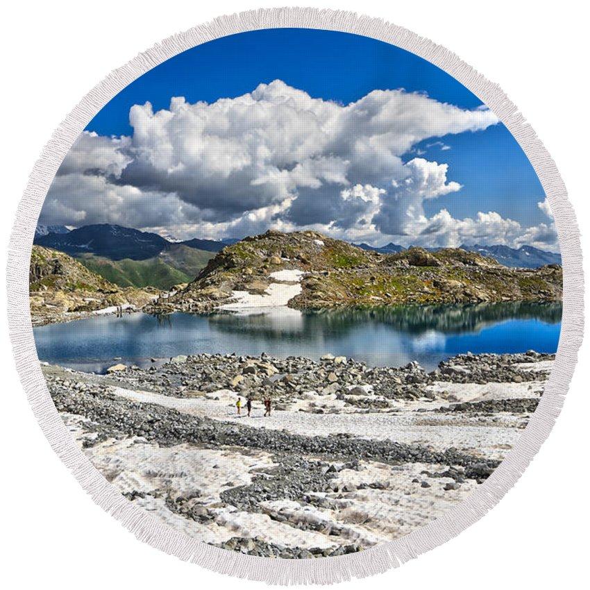 Alpine Round Beach Towel featuring the photograph Monticello Lake - Tonale Pass by Antonio Scarpi