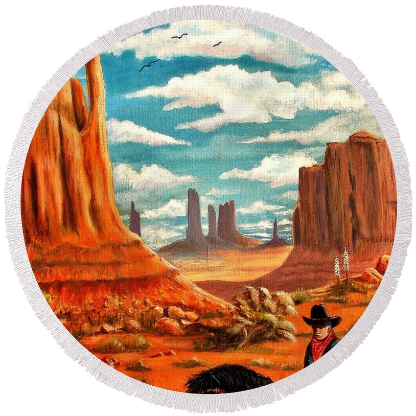Monument Valley Round Beach Towel featuring the painting Monument Valley View by Marilyn Smith