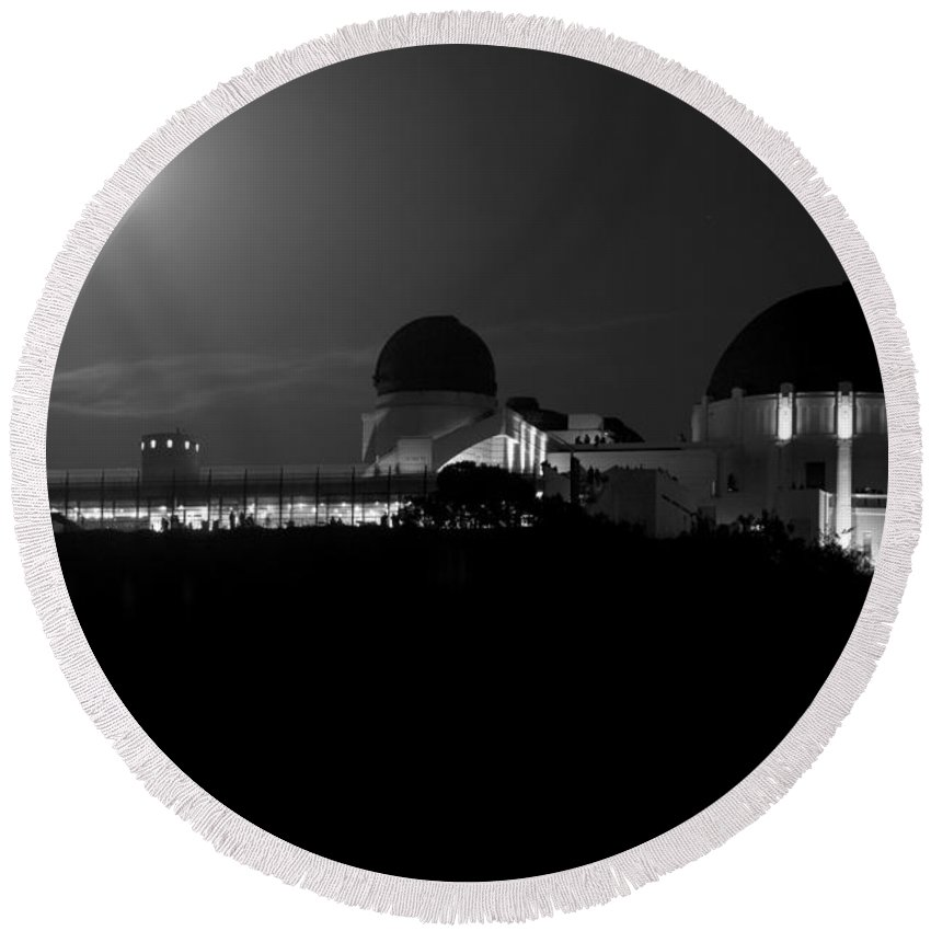 Round Beach Towel featuring the photograph Moon Over Griffith Observatory by Mike Herdering