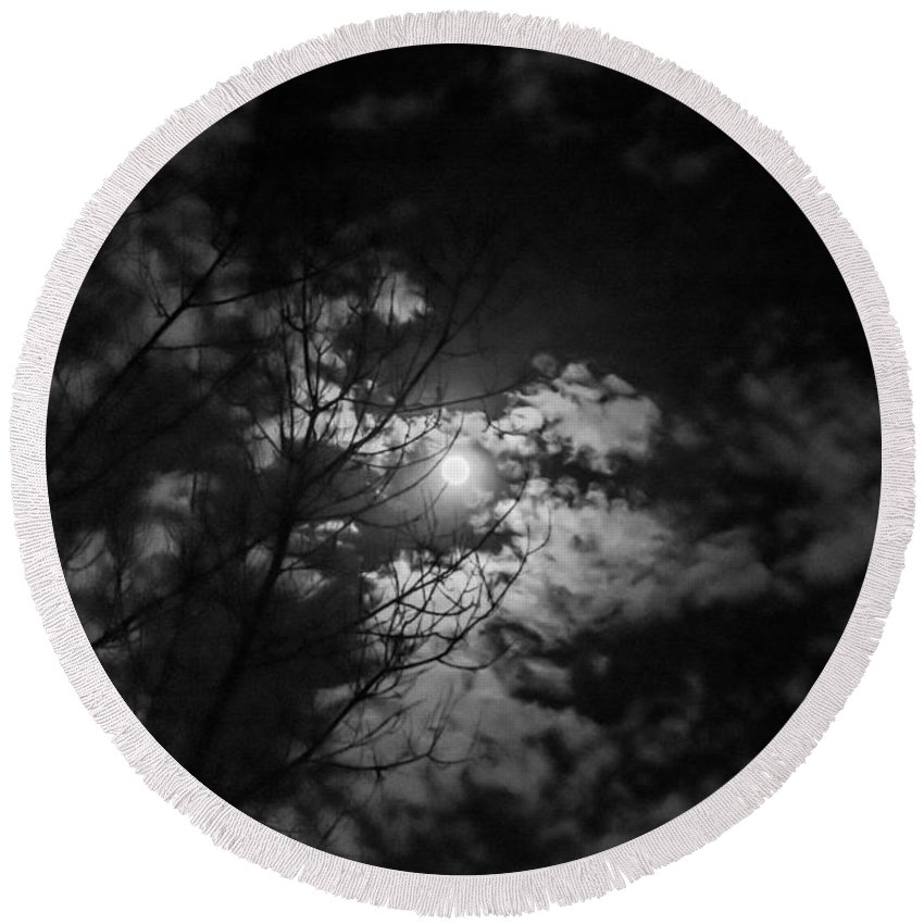 Round Beach Towel featuring the photograph Moonlight by Cheryl Baxter