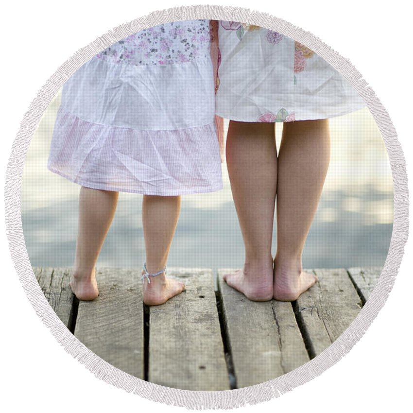Mother Round Beach Towel featuring the photograph Mother And Daughter On A Wooden Board Walk by Lee Avison