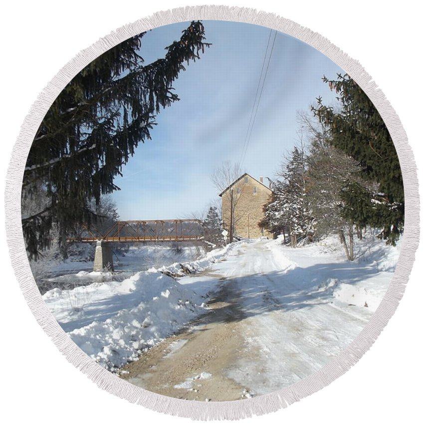 Elkader Iowa Round Beach Towel featuring the photograph Motor Mill Winter by Bonfire Photography