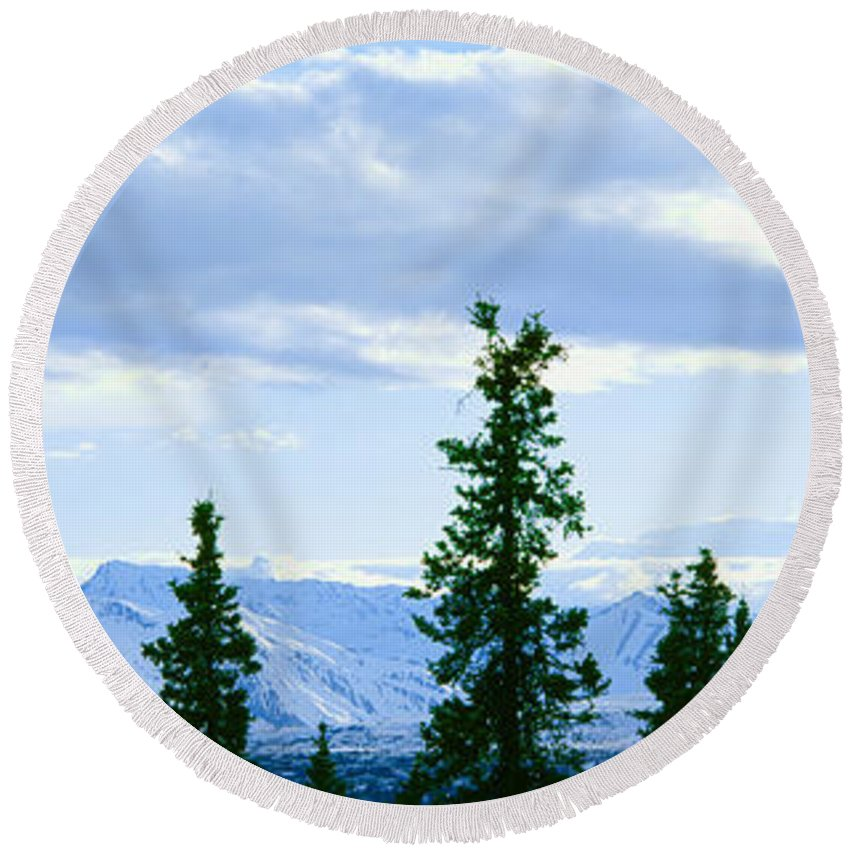Photography Round Beach Towel featuring the photograph Mount Mckinley, Alaska by Panoramic Images