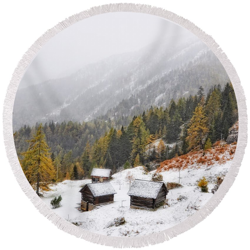 Misty Round Beach Towel featuring the photograph Mountain With Snow by Mats Silvan