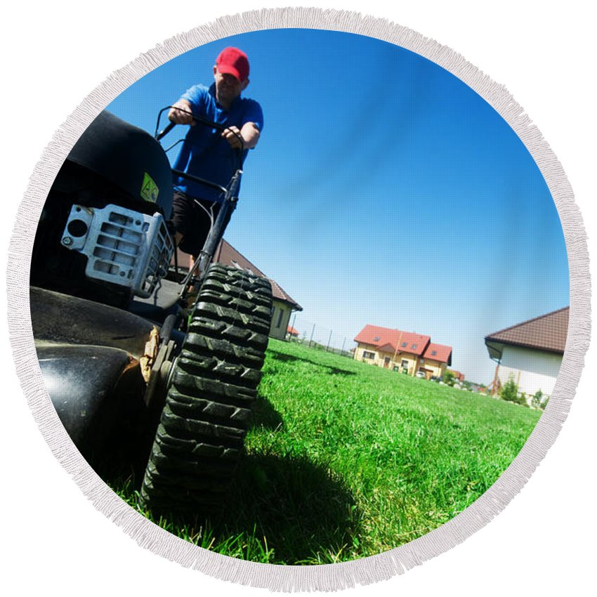 Backyard Round Beach Towel featuring the photograph Mowing The Lawn by Michal Bednarek