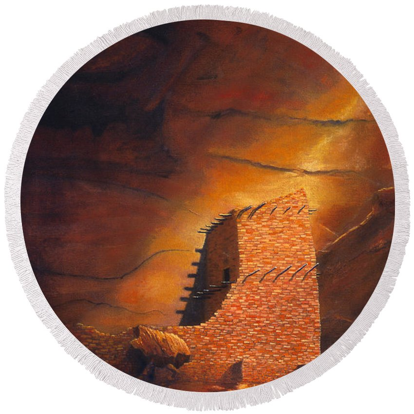 Mummy Cave Ruins Round Beach Towel featuring the painting Mummy Cave Ruins by Jerry McElroy
