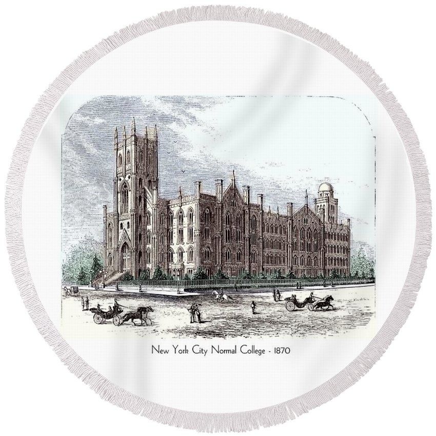 New York Round Beach Towel featuring the digital art New York City Normal College - 1870 by John Madison
