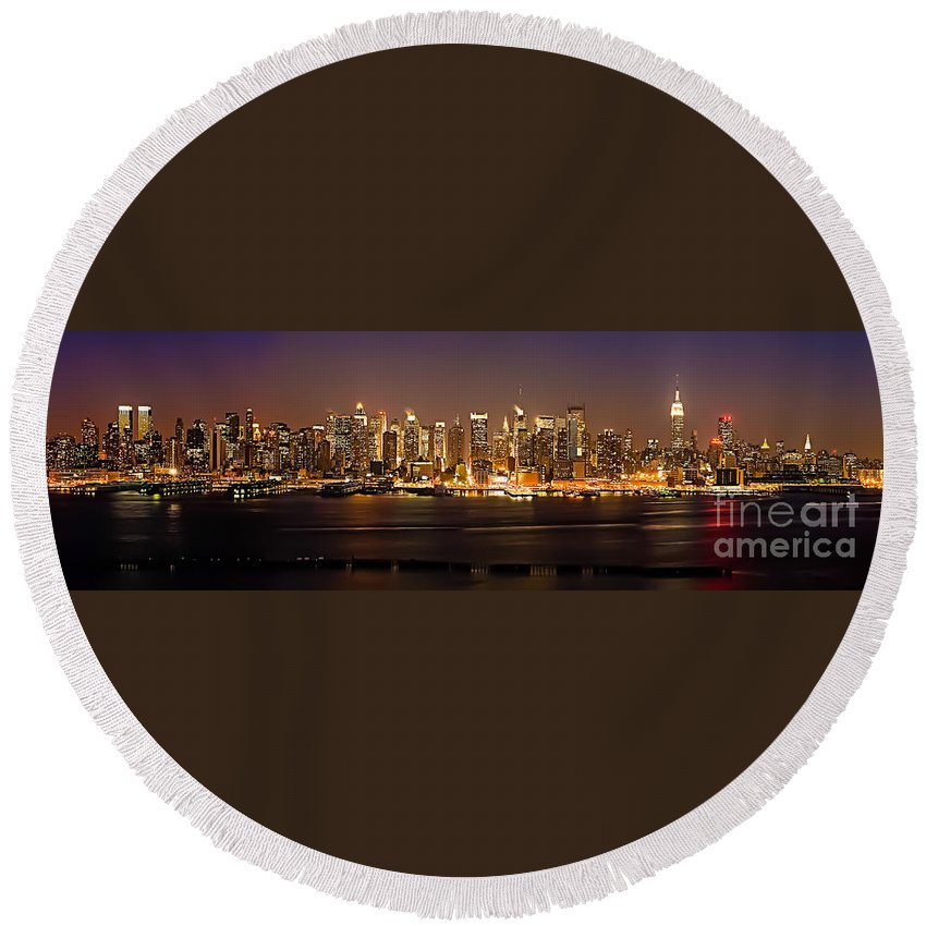 New York Round Beach Towel featuring the photograph New York City Skyline by Anthony Sacco