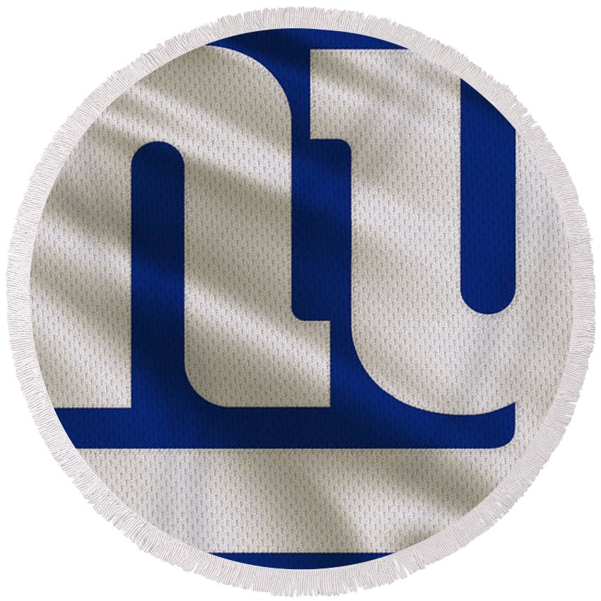 Giants Round Beach Towel featuring the photograph New York Giants Uniform 1 by Joe Hamilton